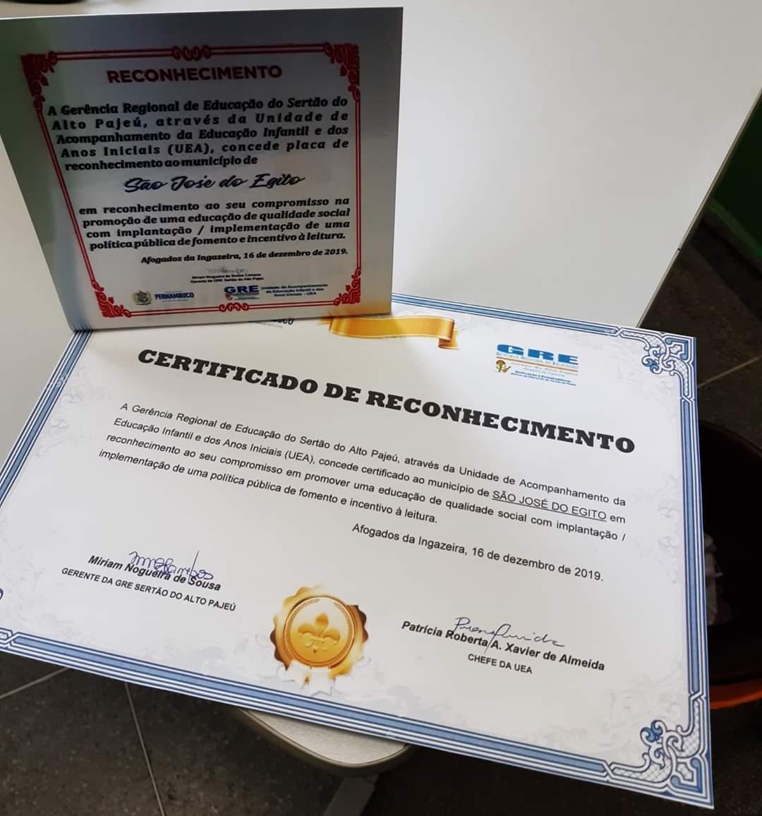 GRE diz que São José do Egito tem política pública de incentivo a leitura, e reconhece iniciativa com certificado e placa