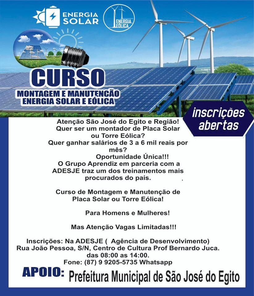 São José do Egito vai ter curso de montagem e manutenção de energia solar e eólica