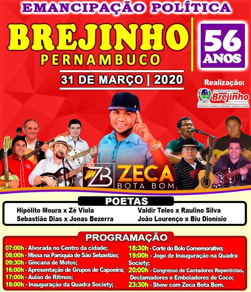 Prefeitura de Brejinho divulgou programação para os 56 anos