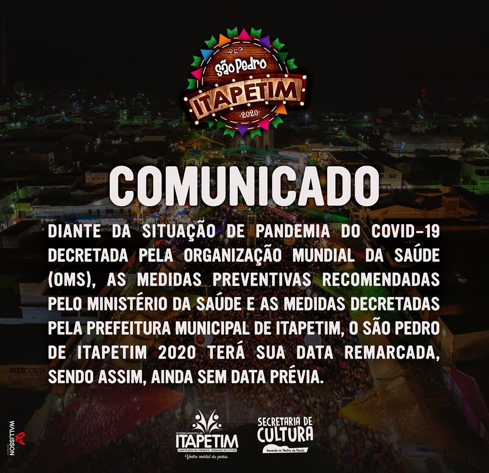 Itapetim anuncia adiamento do seu tradicional São Pedro