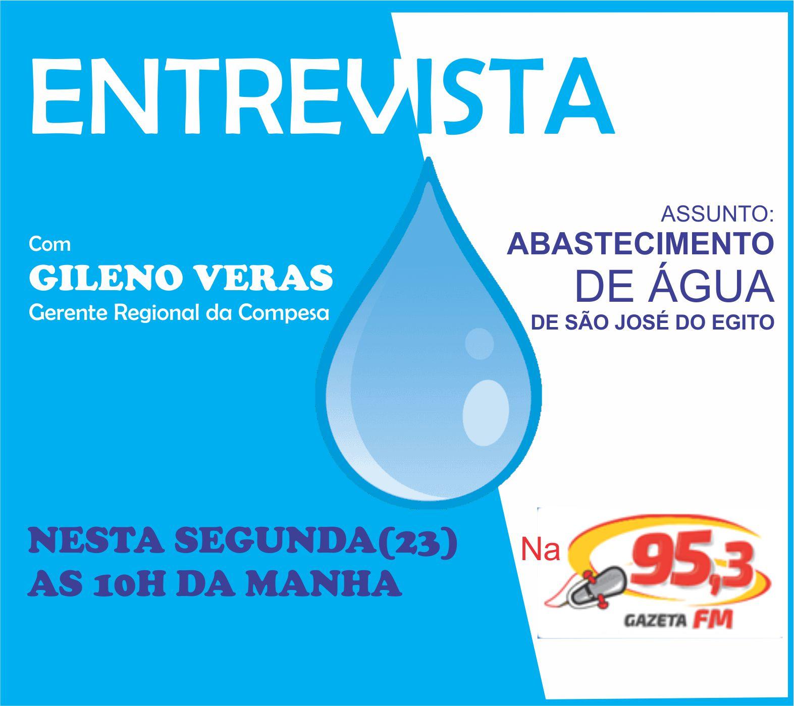 Gerente regional da Compesa vai falar do abastecimento de água de SJE na rádio Gazeta FM 95,3 na manhã dessa segunda (23)
