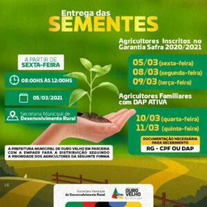Secretaria de Agricultura de Ouro Velho começa a entrega de sementes a agricultores com DAP ativa