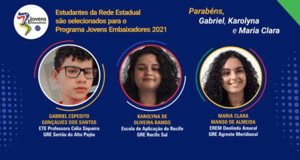 Estudante da ETE Célia Siqueira é único sertanejo entre 24 brasileiros selecionado para Programa Jovens Embaixadores 2021