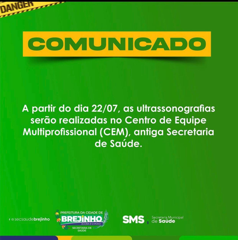 Prefeitura de Brejinho comunica mudança no local de realização de exame de ultrassonografia