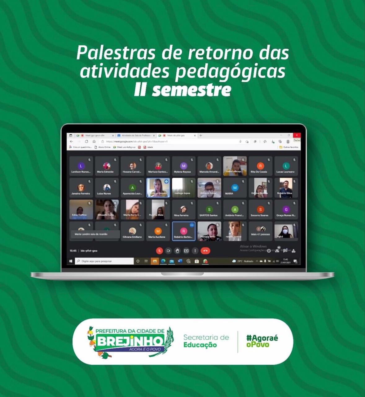 Prefeitura de Brejinho realizou encontro virtual para marcar volta as aulas remotas