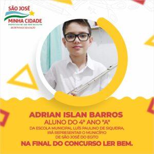Aluno da Escola Luís Paulino está na final do Concurso Ler Bem