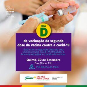 Secretaria de Saúde de SJE fará dia D em Riacho do Meio para quem tá com a segunda dose da vacina contra a covid-19 atrasada