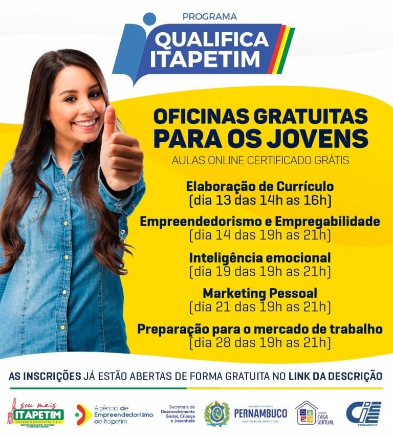 Prefeitura de Itapetim abre inscrições para oficinas gratuitas